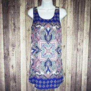 Renee C abstract paisley sleeveless mini dress